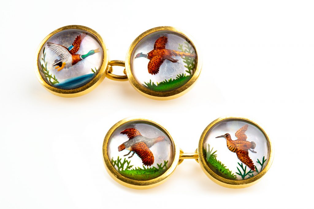Antique Gold and Painted Crystal Cufflinks of Game Birds in Flight, English circa 1900 £3,500