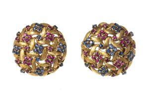 Earring sapphires rubies