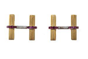 Vintage Boucheron fluted baton cufflinks