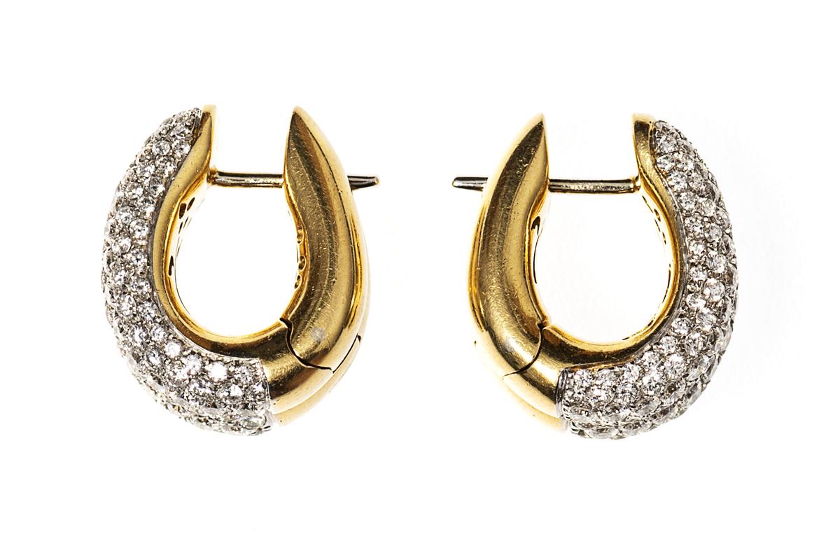 Vintage Diamond Creole Earrings