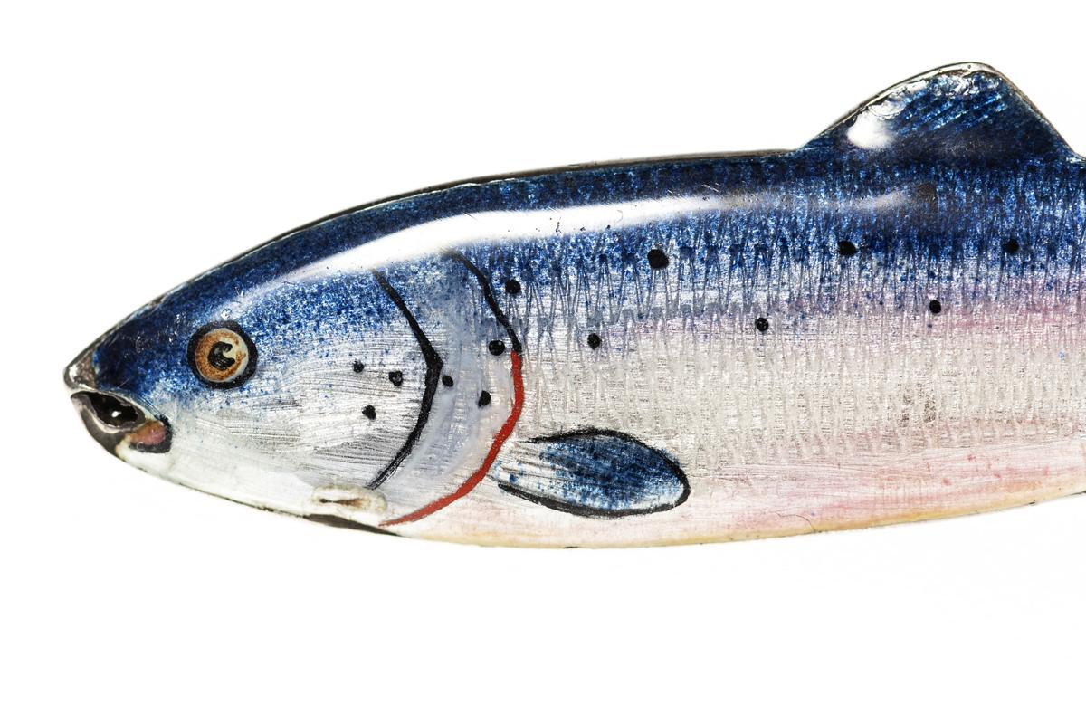 Vintage Enamelled Salmon Brooch