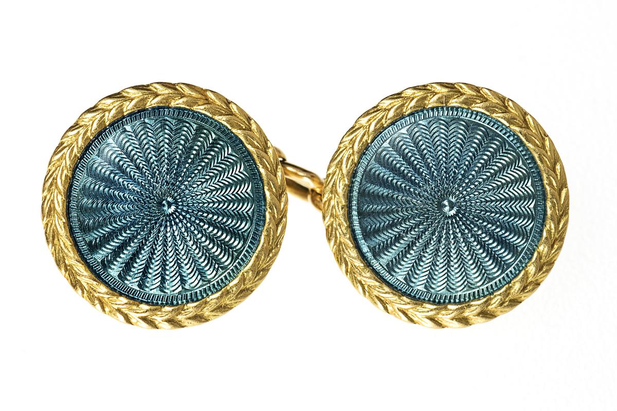 Blue Guilloche Enamel Cufflinks